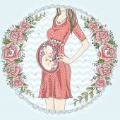 Pregnant woman with cute baby  and flower frame.  — Stock Vector