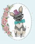 Cute hipster dog and flower frame. — Stock Vector