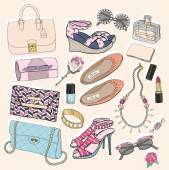 Fashion accessories set. Background with bags, sunglasses, shoes — ストックベクタ
