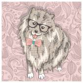 Hipster spitz with glasses and bowtie. Cute puppy illustration f — Stock Vector