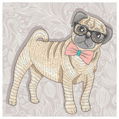 Hipster pug with glasses and bowtie. Cute puppy illustration for — Stock Vector