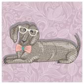 Hipster dachshund with glasses and bowtie. Cute puppy illustration for children and kids. Dog background. — Stock Vector