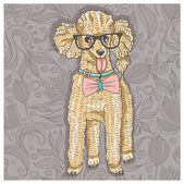 Hipster poodle with glasses and bowtie. Cute puppy illustration for children and kids. Dog background. — Stock Vector