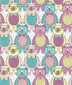 Seamless pattern with cute hipster bears for children or kids. — Stock Vector