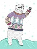 Cute hipster polar bear with glasses and christmas sweater — Stock Vector
