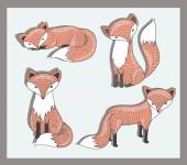 Vector set of cute little fox. Adorable forest animals. — Stock Vector
