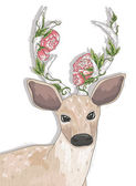 Cute hipster deer with flowers on his horns. — Stock Vector