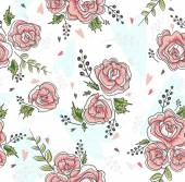 Cute seamless vintage rose pattern. Background with flowers and  — Stock Vector