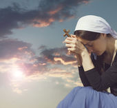 Photo of praying woman — Stock Photo