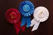 Three winners rosettes — Stock Photo