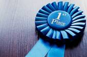 Blue first place winner rosette — Stock Photo