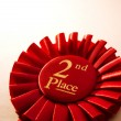 2nd place winners rosette or badge in red — Stock Photo #53717183