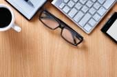 Eye Glasses on Businessman Table — Stock Photo