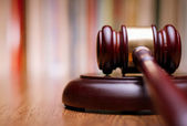 Close up Wooden Law Gavel on the Table — Stock Photo