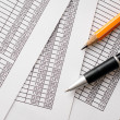 Pen and Pencil on Top of Business Documents — Stockfoto #58204357