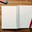 Red pen ready for writing on an open notebook — Stock Photo #58329283