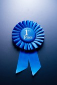 The prize for second place on a blue background — Stock Photo