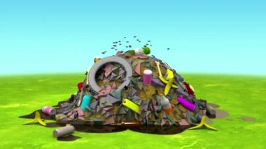 Landfill on the Lawn. 3D animation in cartoon style, loopable. — Stock Video