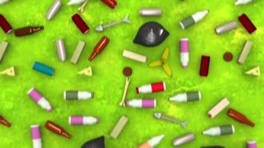 Environmental pollution. 3D animation in cartoon style, loopable. — Stock Video