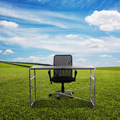 Table and chair on the meadow — Stock Photo
