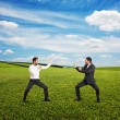 Battle between two young businessmen — Stock Photo #55061523