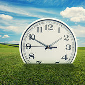 Clock in the green grass over blue sky — Photo