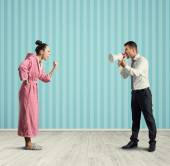 Dissatisfied wife and angry husband — Stock Photo