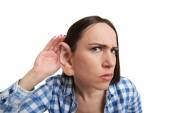 Woman with one big ear listening — Foto Stock