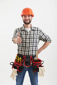 Smiley workman with tools — Stock Photo