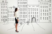 Woman in formal wear over drawing cityscape — Stock Photo