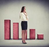 Despondent woman standing over diagram — Stock Photo