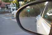 Wing mirror images through moving vehicle — Foto de Stock