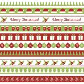 Christmas seamless borders — Stockvektor