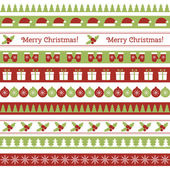 Christmas seamless borders — Vector de stock