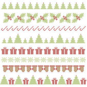 Christmas embroidering elements — Stock Vector