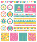 Set of birthday design elements. — Stock Vector