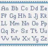 Embroidering alphabet. Uppercase  and lowercase letters — Stockvektor