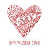 Happy Valentines Day greeting card with hand drawn doodle heart — Stock Vector