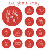 Love story in icons — Vetor de Stock