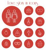Love story in icons — Vetorial Stock