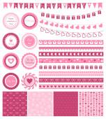 Set of design elements for Valentines Day or wedding — Vettoriale Stock