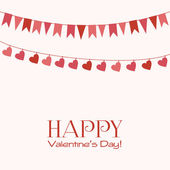 Valentines Day greeting card with garlands — Stock Vector