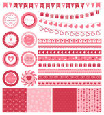 Set of design elements for Valentines Day or wedding — Stock Vector