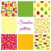 Set of seamless patterns for Easter design — Stock Vector