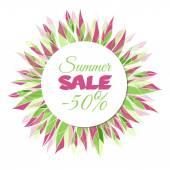 Summer sale floral frame — 图库矢量图片