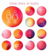 Love story in line icons — Stock Vector