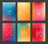 Set of vector blurred wedding cards — Stock Vector