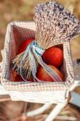 Apple and lavender — Stock Photo