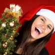 Santa Claus girl laughing — Stock Photo #52605303