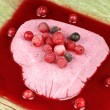 Heart shaped wild berries bavarian cream — Stock Photo #57359305